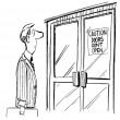 Cartoon illustration. Caution doors do not open for applicants — Stock Photo