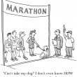 Cartoon illustration. Marathon. Run without dog — Stock Photo