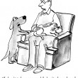 Cartoon illustration. The dog asks owner who holds a cat — Stock Photo #32548669