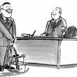 Cartoon illustration. Boss offers a slave to sit down in a small chair — Stock Photo