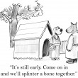 Cartoon illustration. Dogs out on date have bone — Stock Photo