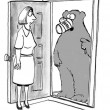 Cartoon illustration. Bear is garbage inspector — Stok fotoğraf