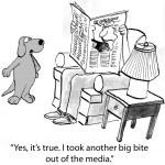 Cartoon illustration. Dog speaking to a man — Stock Photo