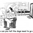 Cartoon illustration. Dogs need to go out — Stock Photo