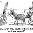 Cartoon illustration. Frontier horse wants brake lights — Stock fotografie