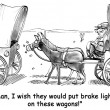 Cartoon illustration. Frontier horse wants brake lights — Stok fotoğraf