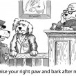 Photo: Cartoon illustration. Dog is giving oath