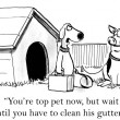 图库照片: Cartoon illustration. Pig will have to clean gutters