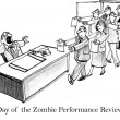 Cartoon illustration. Office workers like zombies. Day of the zombie job seekers with resumes — Stock Photo
