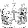 Cartoon illustration. Wife compliments the husband on learning to knit — Stock Photo