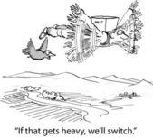 Cartoon illustration. Man carries nest — Stock Photo
