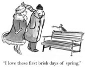 Cartoon illustration. Brisk spring day — Stock Photo