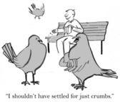 Cartoon illustration. Bird wanted it all — Stock Photo