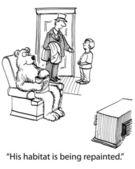 иллюстрации шаржа. медведь смотрит телевизор в пригородном доме — Стоковое фото