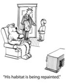 Ilustración de dibujos animados. oso ve televisión en casa suburbana — Foto de Stock