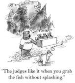 Cartoon illustration. Man is in salmon grabbing competition — Stock fotografie
