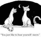 Cartoon illustration. Cat likes to hear herself meow — Stock Photo