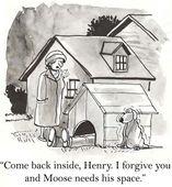 Cartoon illustration. Husband is in dog box — Stock Photo