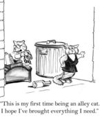 Cartoon illustration. The cats have planned a getaway to an alley. — Stock Photo
