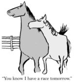 Cartoon illustration. Two horses on the ranch — Foto de Stock