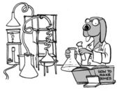 Cartoon illustration dog spends experiments how to make bones — Stock Photo