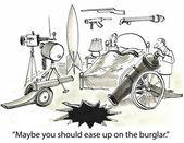 Cartoon illustration. Ease up on burglar — Stock Photo
