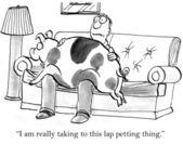 Cartoon illustration. Man and a fat pig — Stock Photo