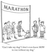 Cartoon-illustration. marathon. ohne hund ausführen — Stockfoto