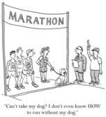 Karikatür çizimi. maraton. köpek çalıştırmak — Stok fotoğraf