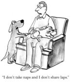 Cartoon illustration. The dog asks owner who holds a cat — Stock Photo
