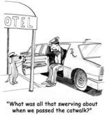 Cartoon illustration. Dog driver swerves at catwalk — Stock Photo