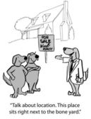 Cartoon illustration. Dog agent sells a house to other dogs — Stok fotoğraf