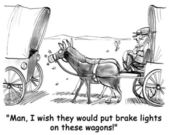 Cartoon illustration. Frontier horse wants brake lights — Stock Photo