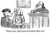 Karikatür çizimi. köpek yemin verilmesi — Stok fotoğraf