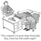 A bent but still usable staple finances — Stock Photo