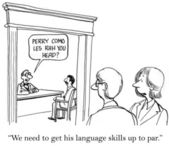 """""""We need to get his language skills up to par."""" — Stock Photo"""