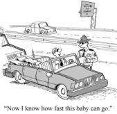 Cartoon illustration speeding fine — Stock Photo