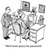 'We'll never guess her password.' — Stock Photo