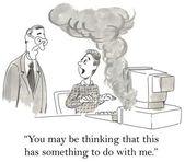 Karikatür çizimi bilgisayar işlemi sırasında yanar — Stok fotoğraf