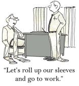 Cartoon illustration office workers with Stretched sleeves — Stock Photo