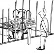 Cartoon illustration man looking for a bear in a cage — Stock Photo