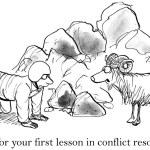 Cartoon illustration. Man ready to fight with sheep — Stock Photo #32550389