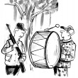 Foto Stock: Mwith drum prevents hunting. Cartoon illustration