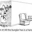 Stock Photo: Robber with gun in house. Cartoon illustration