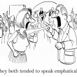 Stock Photo: Cartoon illustration. People try to speak emphatically