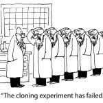 Cartoon illustration. Cloning experiment — Stock Photo #32550877
