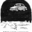 Cartoon illustration. People in the car fly over the moon — Stock Photo