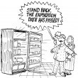 Cartoon illustration. Man protects the family from expired products — Stock Photo