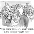 Cartoon illustration. Businessmen are going to  resolve every conflict in company — Stock Photo #32551945