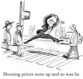 Housing prices were up and so was he. — Stock Photo